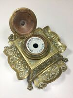 Solid Brass Antique Victorian English Ink Well ca.1885