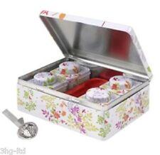 Tea Caddy Metal Box 4 x Tin Gift Set Straining Spoon Retro Floral Leaf Design VJ