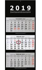 XXL 3-Monatskalender 2019 schwarz großer Wandkalender Bürokalender Monate black