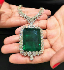 Green Emerald Cut CZ Big Necklace Handmade 925 Sterling Silver Wedding Halo HOT