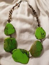 BARSE 925 STERLING SILVER CHUNKY GREEN TURQUOISE & SMOKY QUARTZ BEADS NECKLACE