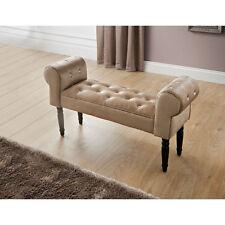 Diamante Buttons Chaise Lounge Antique Decorative Sofa Chair- Champagne