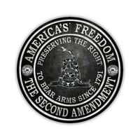 """Novelty Sign - 2nd Amendment Gadsden Flag, Right To Bear Arms - 12"""" Round Metal"""