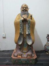 "43""China Pure Bronze cloisonne Confucianism Educators Confucius Kong Zi Statue"