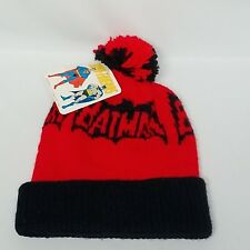 Orlon Super Friends DC Comics Knit Hat Superman Batman Red Black 1976 with Tags