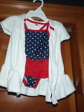 CARTERS 1 PIECE BATHING SUIT RED,WHITE & BLUE & TERRY ROBE SZ 6 MONTHS NEW