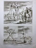 Crucifixion des Chrétiens 1844 Martyr Torture Atlas Écriture Sainte Rare Gravure