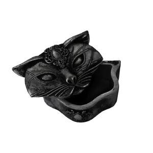 Alchemy Gothic Sacred Cat Trinket Jewelry Coin Small Black Decorative Resin Box