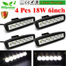 4x18w 6inch Flood LED Work Lights Bar Offroad Fog Car Driving Truck Suv UTE 4WD