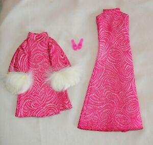 VINTAGE  BARBIE Clone 1960's PINK SILVER AMAZING DRESS WITH COAT AND FUR TRIM