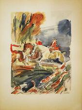 LA CHASSE A COURRE LITHOGRAPH POCHOIR ORIGINAL UZELAC 1932 LES JOIES DU SPORT 12