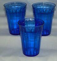 "3 Hazel Atlas MODERNTONE COBALT BLUE *4"" 9 ounce WATER TUMBLERS*"