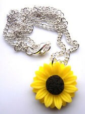 "Gorgeous handmade sunflower pendant with necklace on 18"" chain with gift bag"