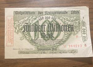 Germany 100 Millionen Mark 1923 Banknote Speyer Kreis Pfalz