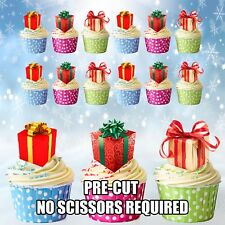 PRECUT Christmas Gifts /  Presents 12 Edible Cupcake Toppers Cake Decorations