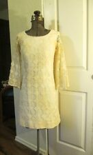 VINTAGE 1960s MOD BOHO CROCHET LACE DRESS wedding tea HIPPIE S