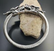 Viking Midgard Bracelet Wolf Heads Stainless Steel Blood Stone Norse Arm Ring