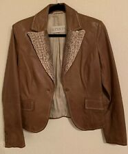 GIMO'S GENUINE LEATHER JACKET Snake Skin Collar FABULOUS From ITALY SZ S Women's