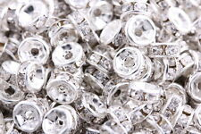 50 Pcs Silver Plated Crystal Rondelle Spacers Beads Charms 8mm