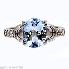 14k White Gold Blue Topaz Cocktail Diamond Ring