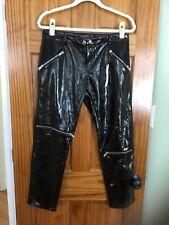 Zara Relaxed Biker Patent Vinyl Black Shiny Moto Pants    Size M