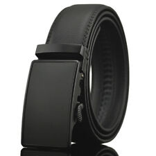 Fashion Mens Automatic Buckle Belt Black Leather Belts Ratchet Waistband Leisure