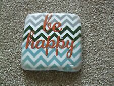 HANDMADE 'BE HAPPY' POTTERY/RESIN COASTER WITH CORK BACKING. 9CM X 9CM