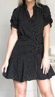 Black & White Polka Dot Ruffle Boutique New Skater Mini Dress Size S 8