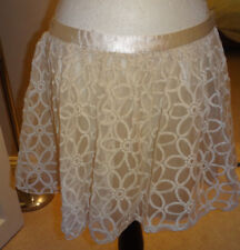 Parisian Collection Ivory Embroidered Lace Skirt Floral Design Size 14 Lined
