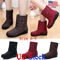 Women Winter Zipper Warm Fur Lined Soft Snow Ankle Boots Waterproof Wedge Shoes