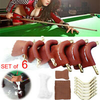 6Pcs Leather Pool Snooker Billiards Table Pockets Leather Nets Protect Ball Set