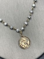 """Vintage Bohemian Coin Pendant Necklace Grey Stone Beaded Chain 16"""""""