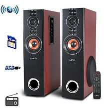 2.1 CHANNEL BLUETOOTH POWERED DUAL WOOD TOWER SPEAKERS FM RADIO USB MP3 PLAYER