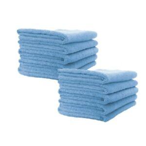 10x Blue Microfibre Cloths Car Cleaning Valeting Detailing Polish Cloth Drying