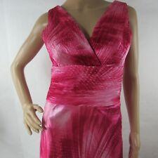 Paraf Cocktail Dress 38 M Medium Pink Glitter Satin Long Side Zip V neck Pleated