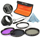 NEW 67mm UV CPL FLD ND4 Filter Kit + Lens Hood For Canon Nikon Sony Olympus DSLR