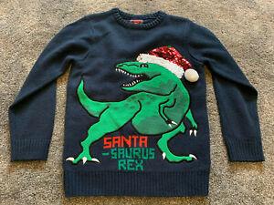 F+F Dinosaur Santa-Saurus rex christmas jumper  - Size 7-8 years