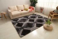 3D VIENNA DESIGN RUG SMALL AND LARGE GREY SILVER THICK SOFT DENSE PILE NEW RUG