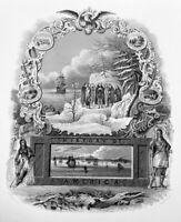 RARE 1846 Art Print Engraving ~ AMERICAN HISTORY PILGRIMS PURITANS PLYMOUTH ROCK
