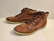 ECCO Men's Brown Leather Chukka Mid Hi Top Lace Up Sneaker size 43 / 9.5
