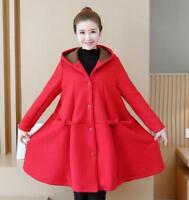 Women Plus Size Coat Hood Velvet Warm Outwear Jacket Loose Trench Thicken Winter