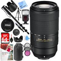 Nikon AF-P NIKKOR 70-300mm f/4.5-5.6E ED VR Fixed Zoom DSLR Lens (Black) Bundle