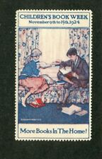 Poster Stamp Label 1924  CHILDRENS BOOK WEEK kids reading on window seat