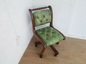 VINTAGE GREEN LEATHER CHESTERFIELD TYPIST CHAIR / not captains chair - Delivery