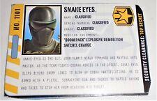 G I JOE File I.D. Card Filecard  Pursuit of Cobra  2011    Snake Eyes V54