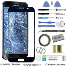 SAMSUNG GALAXY S7 Black Replacement Screen Front Glass lens Repair Kit+ 2mm Tape
