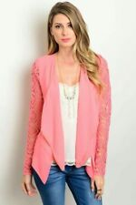 New Cute Blue lace sleeve chain blazer cardigan jacket Size Large