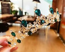 Children Kids Girls Princess Emerald Green Crystal Tiara Crown Hair Headband
