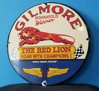 VINTAGE GILMORE GASOLINE PORCELAIN GAS SERVICE STATION PUMP MOTOR OIL LION SIGN