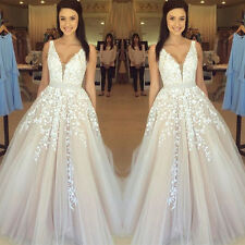 New White V Neck Tulle Wedding Dress Lace Appliques Sweep Train Bridal Gown 2017